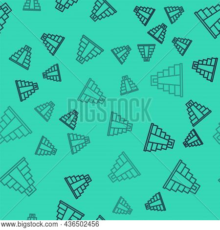 Black Line Chichen Itza In Mayan Icon Isolated Seamless Pattern On Green Background. Ancient Mayan P