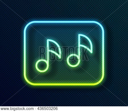 Glowing Neon Line Music Note, Tone Icon Isolated On Black Background. Vector