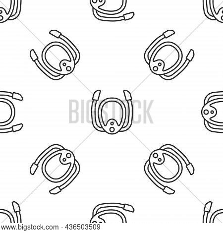 Grey Line Diving Mask With Snorkel Icon Isolated Seamless Pattern On White Background. Extreme Sport