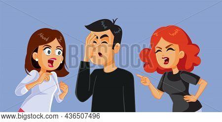 Betrayed Women Arguing With Unfaithful Man Vector Illustration