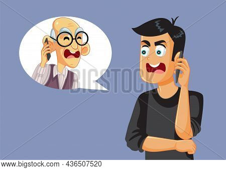 Adult Man Arguing With Senior Father On The Phone Vector