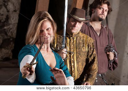 Tough Medieval Lady With Dagger