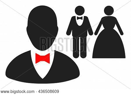 Marriage Officiant Vector Illustration. A Flat Illustration Design Of Marriage Officiant Icon On A W