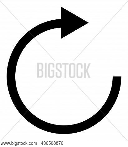 Rotate Right Arrow Vector Icon. A Flat Illustration Design Of Rotate Right Arrow Icon On A White Bac