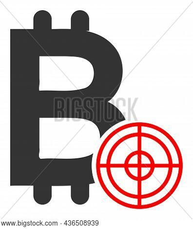 Bitcoin Target Vector Icon. A Flat Illustration Design Of Bitcoin Target Icon On A White Background.