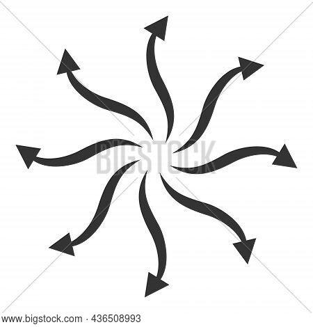 Cyclone Rotation Arrows Vector Icon. A Flat Illustration Design Of Cyclone Rotation Arrows Icon On A