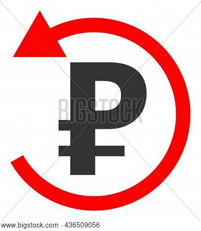 Rouble Refund Vector Icon. A Flat Illustration Design Of Rouble Refund Icon On A White Background.