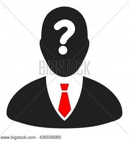 Unknown Boss Vector Illustration. A Flat Illustration Design Of Unknown Boss Icon On A White Backgro