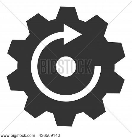 Rotate Gear Vector Icon. A Flat Illustration Design Of Rotate Gear Icon On A White Background.