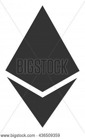 Ethereum Crystal Vector Illustration. A Flat Illustration Design Of Ethereum Crystal Icon On A White