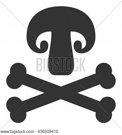 Toxic Mushroom Vector Icon. A Flat Illustration Design Of Toxic Mushroom Icon On A White Background.
