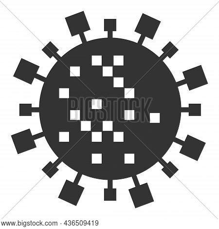 Digital Virus Cell Vector Illustration. A Flat Illustration Design Of Digital Virus Cell Icon On A W
