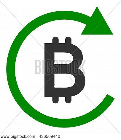 Bitcoin Repay Vector Icon. A Flat Illustration Design Of Bitcoin Repay Icon On A White Background.