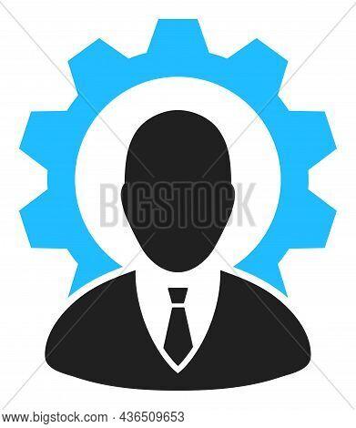 Industry Boss Vector Illustration. A Flat Illustration Design Of Industry Boss Icon On A White Backg