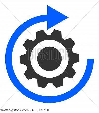 Gear Rotation Vector Illustration. A Flat Illustration Design Of Gear Rotation Icon On A White Backg