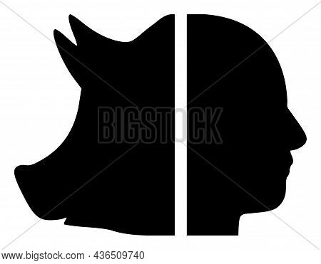 Dual Pig Man Vector Icon. A Flat Illustration Design Of Dual Pig Man Icon On A White Background.