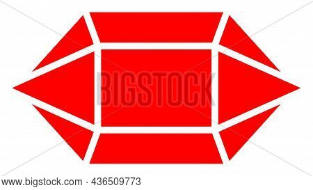 Ruby Crystal Vector Icon. A Flat Illustration Design Of Ruby Crystal Icon On A White Background.