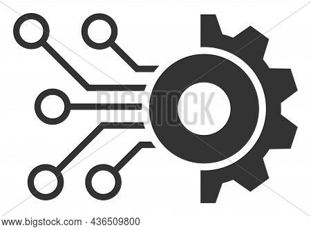 Gear Circuit Vector Illustration. A Flat Illustration Design Of Gear Circuit Icon On A White Backgro