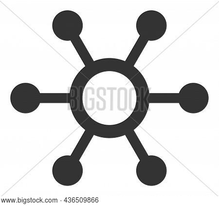 Central Links Vector Illustration. A Flat Illustration Design Of Central Links Icon On A White Backg