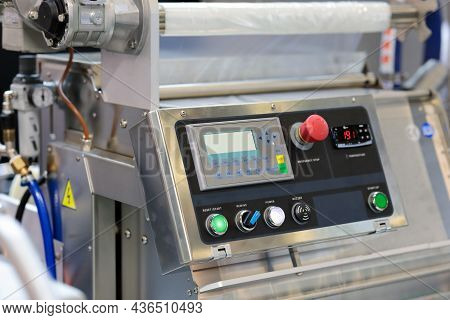 Control Panel Of Industrial Tray Packaging Machine. Tray Sealing Machine Or Tray Sealer Is Suitable