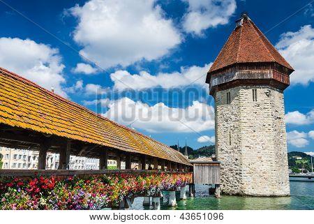 Chapel Bridge In Luzern, Switzerland