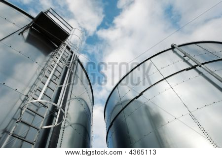 Refinery Ladder And Tanks