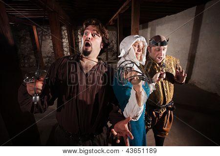 Nun Fighting Two Men