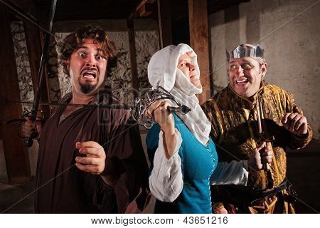 Scared Man With Sword On Neck