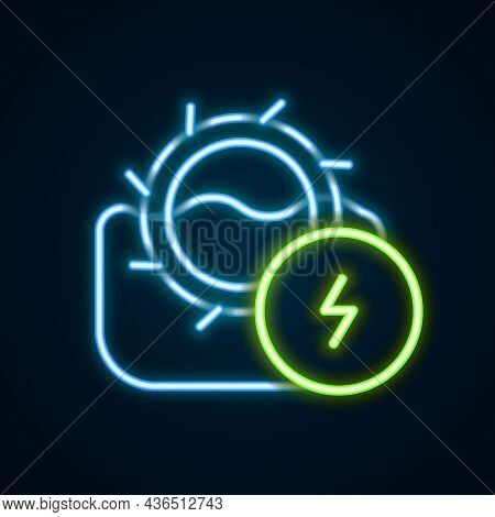 Glowing Neon Line Water Mill Icon Isolated On Black Background. Water Wheel Energy. Hydro Power Turb
