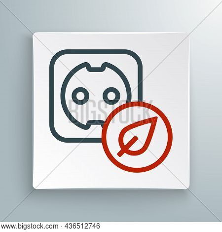 Line Electrical Outlet Icon Isolated On White Background. Alternative Energy. Clean Energy. Power So