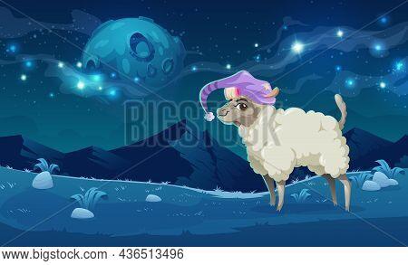 Cute Alpaca In Sleeping Hat On Meadows In Peruvian Mountains At Night. Vector Cartoon Illustration O