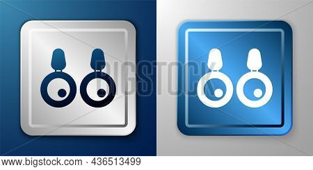White Earrings Icon Isolated On Blue And Grey Background. Jewelry Accessories. Silver And Blue Squar