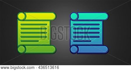 Green And Blue Decree, Paper, Parchment, Scroll Icon Icon Isolated On Black Background. Vector
