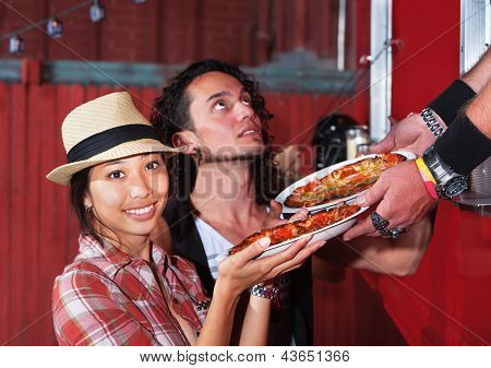 Cute Woman With Pizza Order