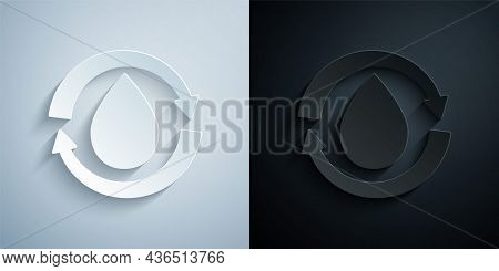 Paper Cut Recycle Clean Aqua Icon Isolated On Grey And Black Background. Drop Of Water With Sign Rec