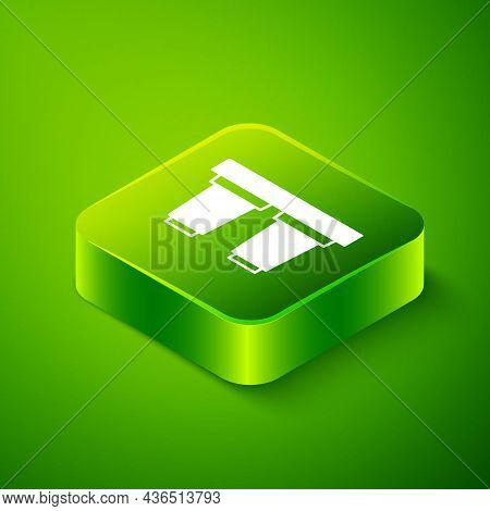 Isometric Water Filter Cartridge Icon Isolated On Green Background. Green Square Button. Vector