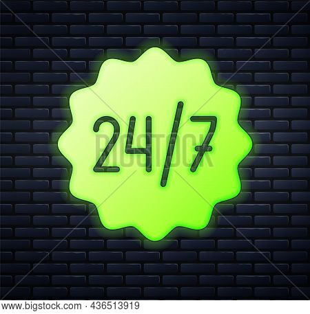 Glowing Neon Clock 24 Hours Icon Isolated On Brick Wall Background. All Day Cyclic Icon. 24 Hours Se