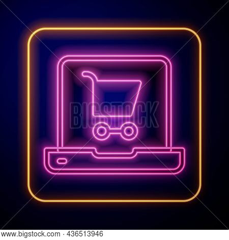 Glowing Neon Shopping Cart On Screen Laptop Icon Isolated On Black Background. Concept E-commerce, E