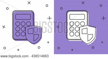 Set Security System Control Panel With Display Icon Isolated On White And Purple Background. Keypad