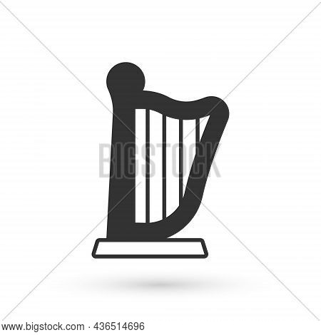 Grey Harp Icon Isolated On White Background. Classical Music Instrument, Orhestra String Acoustic El