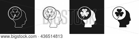 Set Human Head With Clover Trefoil Leaf Icon Isolated On Black And White Background. Happy Saint Pat