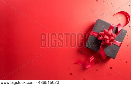 Online Shopping Of China, 11.11 Singles Day Sale Concept. Top View Of Black Christmas Gift Boxes Wit