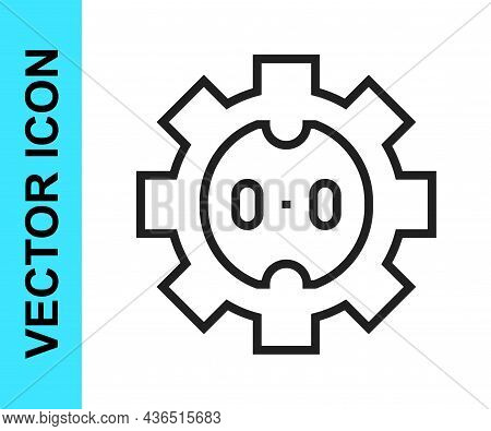 Black Line Electrical Outlet Icon Isolated On White Background. Power Socket. Rosette Symbol. Vector