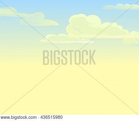 Sky Clouds Vector. Illustration In Cartoon Style Flat Design. Heavenly Atmosphere. Yellow Sunset Or