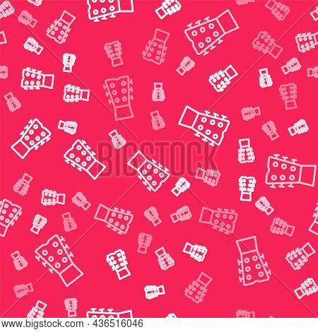 White Line Guitar Neck Icon Isolated Seamless Pattern On Red Background. Acoustic Guitar. String Mus