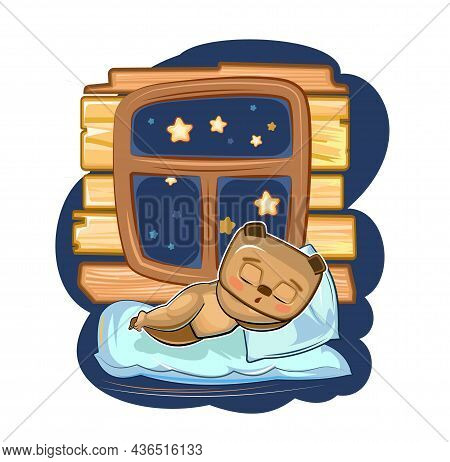 Baby Bear Sleeps In Bed. Dreaming Near The Window And Wall. Night And Stars. Childrens Illustration.