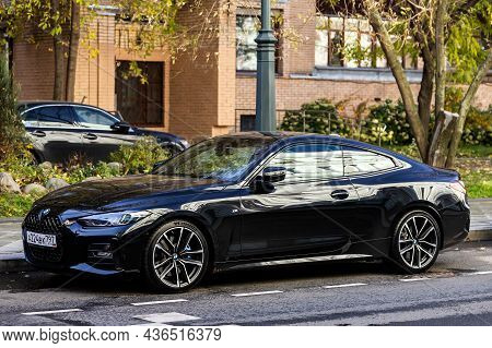 Moscow, Russia - October  13, 2021: Black Bmw Series 8 Is Parked  On The Street On A Warm  Autumn  D