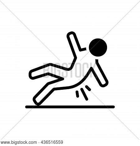 Black Solid Icon For Slip Wet Fall Floor Slippy Skiddy Fall-down Slippery Caution