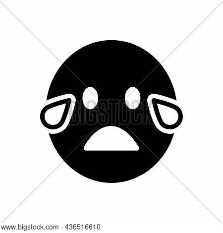 Black Solid Icon For Cry Blubber Weeping Howl Tearful Lament Sob
