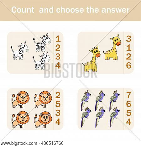 How Many Counting Game With Funny Forest Animal Giraffes, Parrots, Zebras, Lions. Preschool Workshee